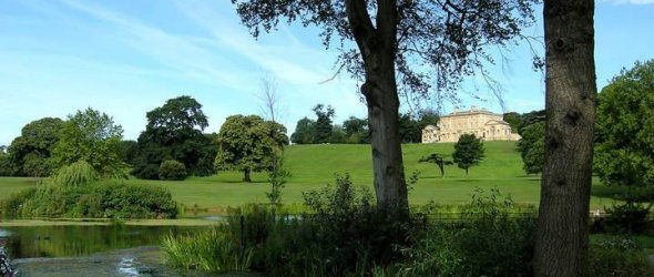 Picture of a lake and Cusworth Hall in the background